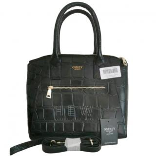Osprey Black Croc Embossed Top Handle Bag
