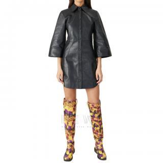 Ganni Black Lambs Leather Mini Dress - Current Season