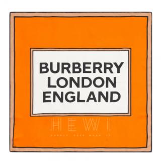 Burberry Logo Print Silk Square Scarf - Current