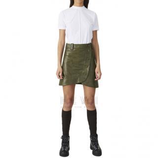 Ganni Khaki Asymmetric Lamb Leather Wrap Mini Skirt - New Season