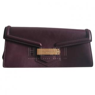 Max Mara Burgundy Nappa Leather Clutch