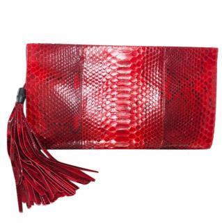 Gucci Red Python Leather Tassel Clutch