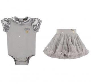 Angels Face Ash Grey Satin Sleeve Baby Grow & Trinity Tutu Skirt