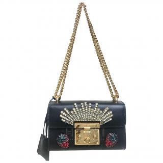 Gucci limited Edition small embellished black padlock shoulder bag