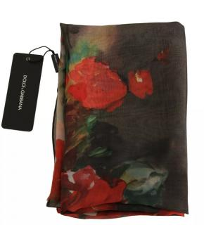 Dolce & Gabbana black roses print scarf/wrap