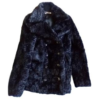 McQ Black Faux Shearling Double Breasted Jacket
