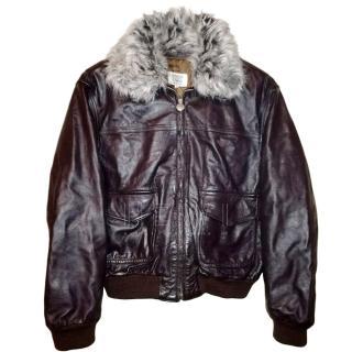 Armani Junior G-1 Boy's Pilot Bomber Leather Jacket
