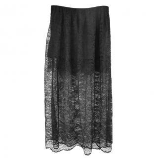 Paco Rabbane Black Lace Midi Skirt