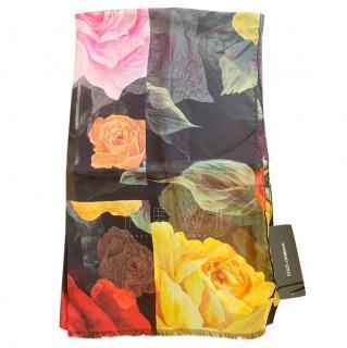 Dolce & Gabbana Black Rose Print Wrap Scarf