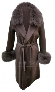 Max Mara Brown Cashmere & Wool Belted Wrap Coat