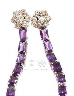 Bespoke Diamond & Amethyst Drop Earrings