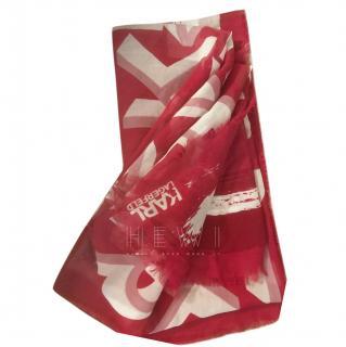 Karl Lagerfeld Chiffon Red & White Scarf