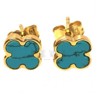 Bespoke 18ct Yellow Gold Turquoise Clover Earrings