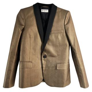 Saint Laurent gold jacquard blazer.
