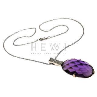 Bespoke Amethyst & Diamond pendant necklace