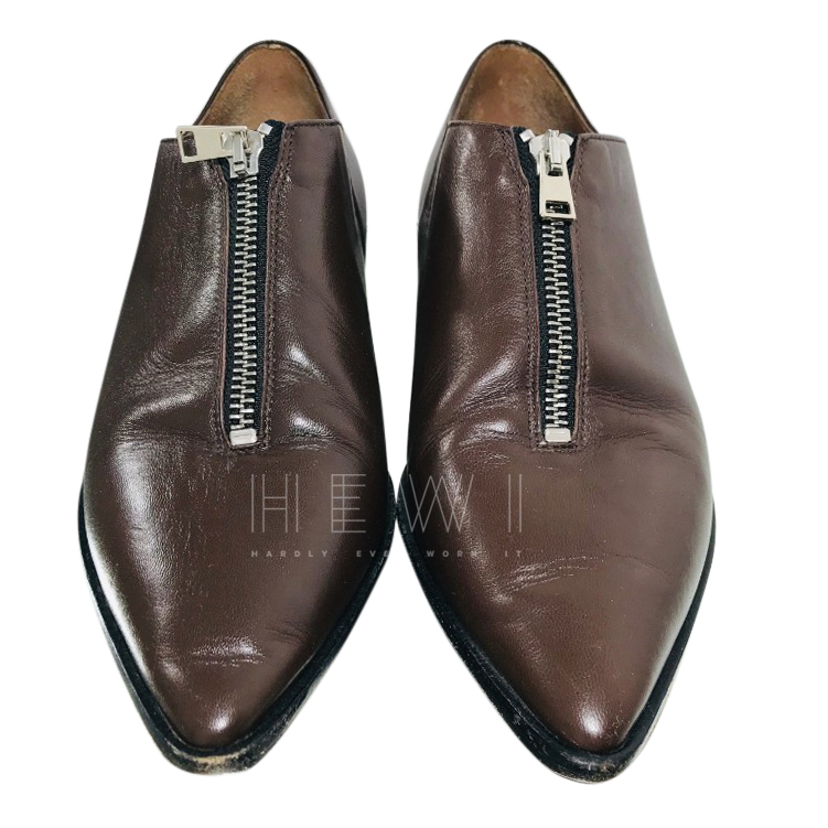 Marni Brown Zip Front Moccasin Loafers