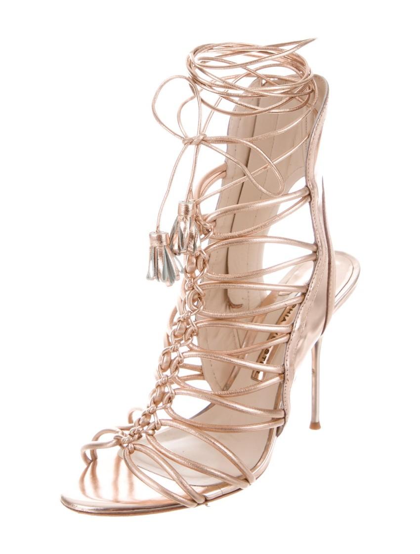 Sophia Webster Rose Gold Lace-Up Sandals
