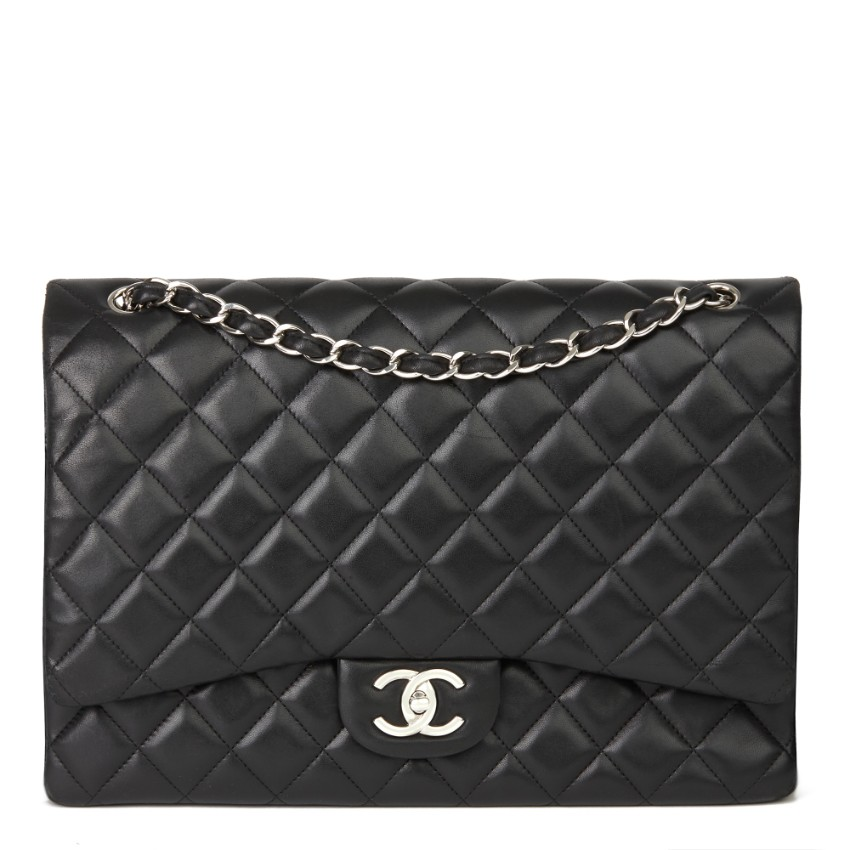 Chanel Black Quilted Leather Maxi Double Flap