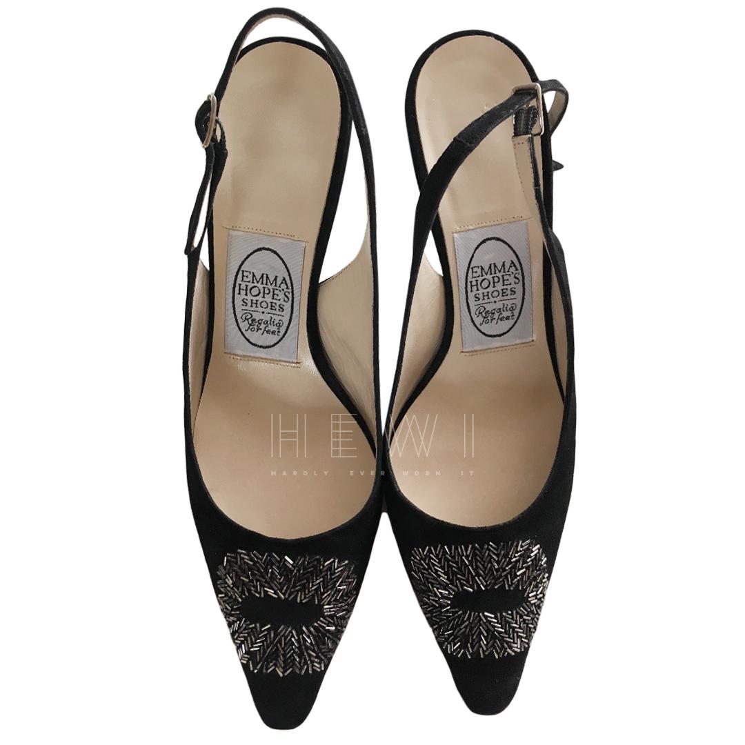 Emma Hope Black Embellished Slingback Sandals
