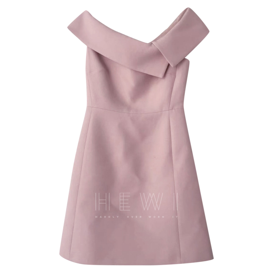 Dior Pink Off Shoulder Wool & Silk Dress