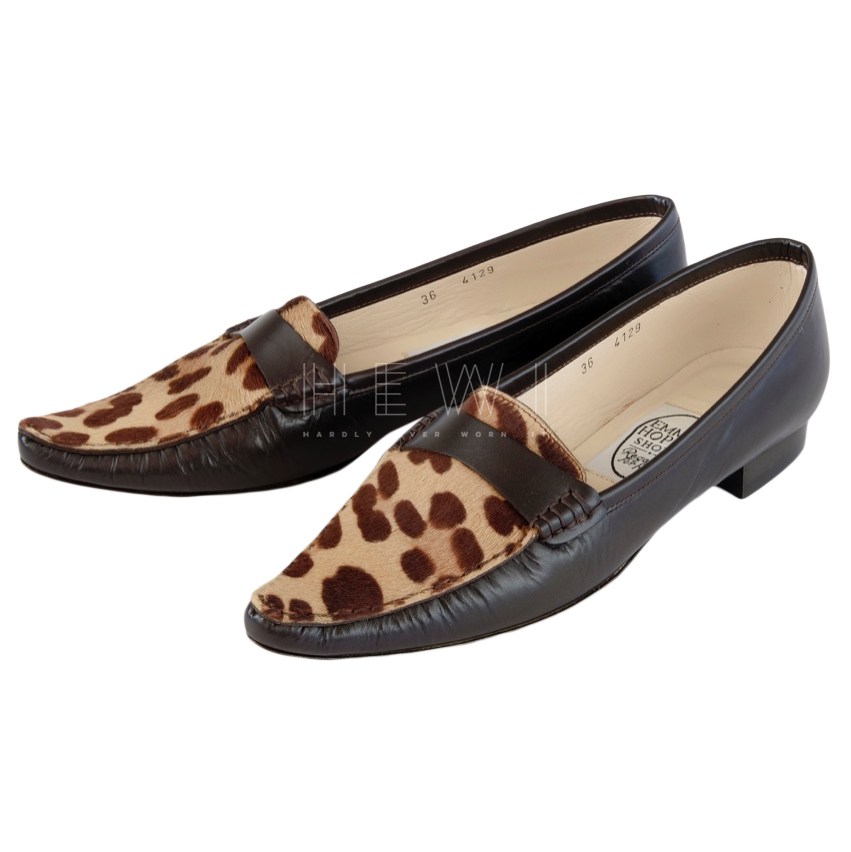 Emma Hope Leather Leopard Print Loafers
