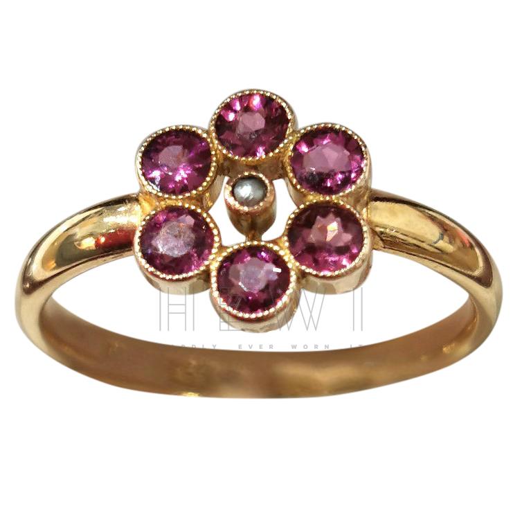 Bespoke Rhodolite & Seed Pearl Ring
