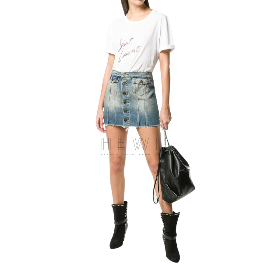 Saint Laurent Button Front Denim Mini Skirt