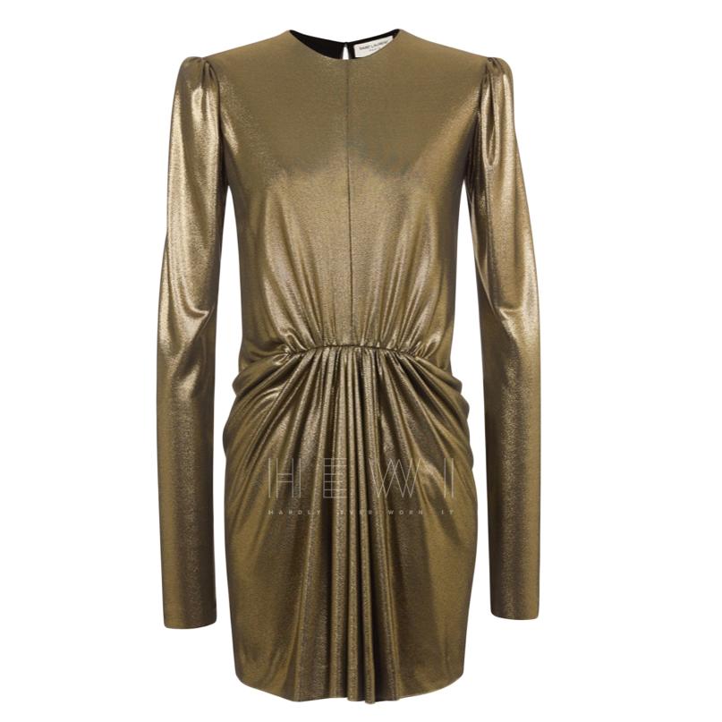 Saint Laurent Gold Long Sleeve Mini Dress W/ Gathered Waist