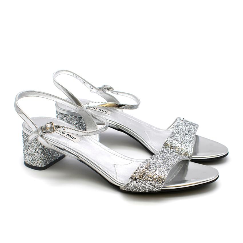 Miu Miu Silver Glitter Sandals