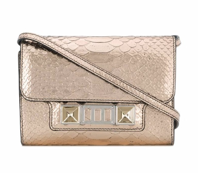 Proenza Schouler Metallic Embossed Python PS11 Crossbody Wallet