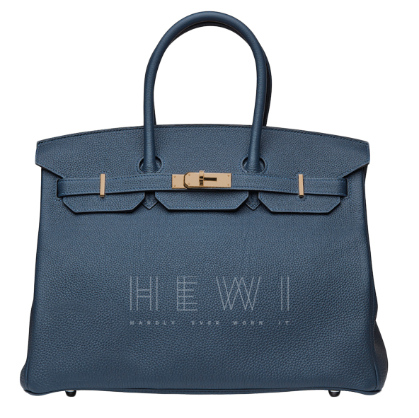 Hermes Blue Togo Leather 35cm Birkin
