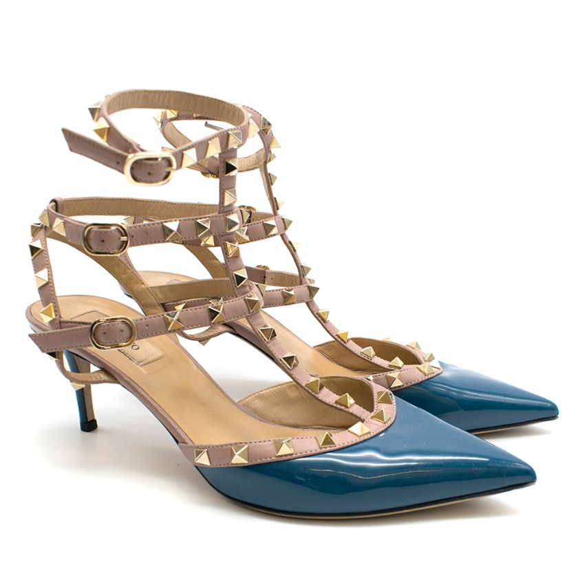 Valentino 65mm Blue Rockstud Caged Sandals