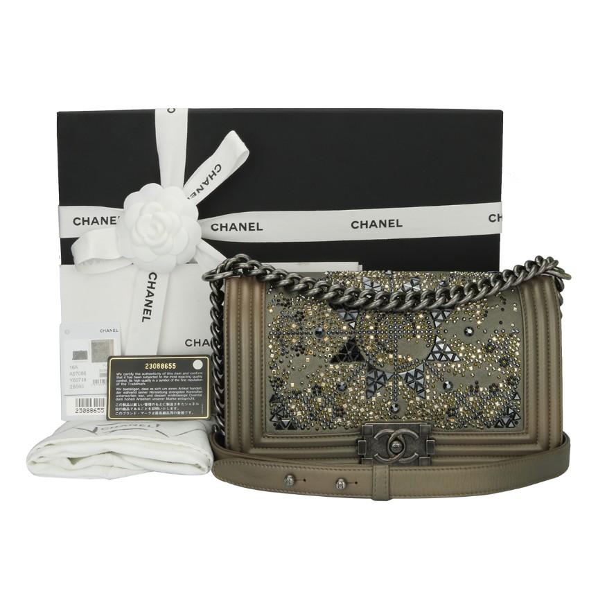 Chanel Crystal Embellished Goatskin Boy Bag