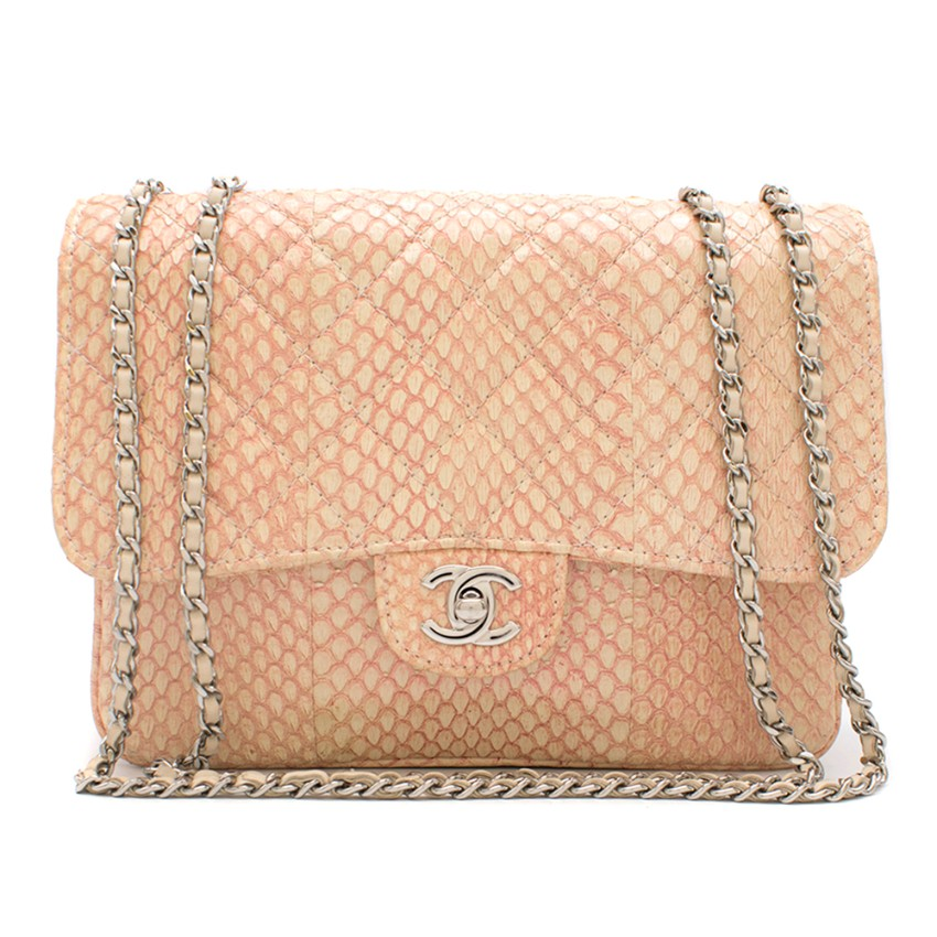 Chanel Blush Quilted Python 3 Accordion Square Flap Bag