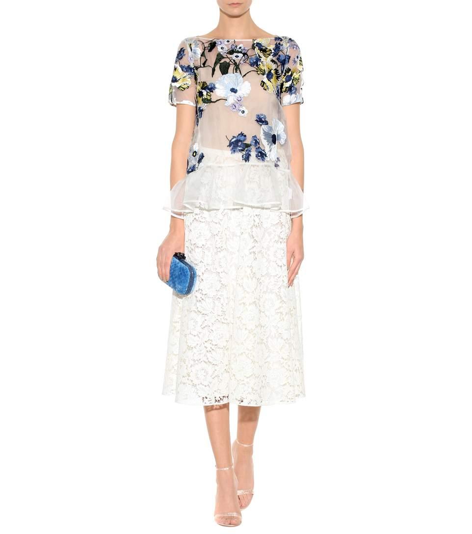 Erdem Blue Noelle Floral-embroidered Top