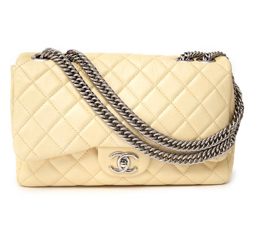 Chanel Cream Classic Flap W/ Bijoux Chain