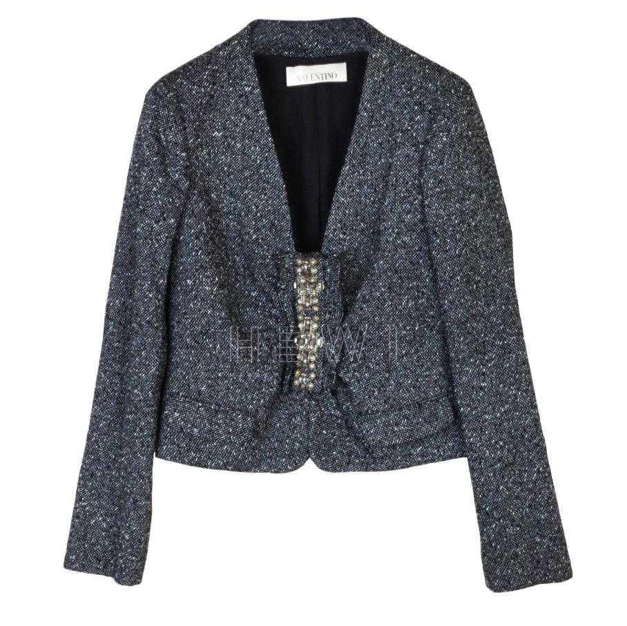 Valentino Cropped Wool Blend Embellished Jacket
