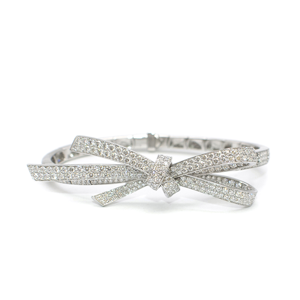 Chanel White Gold Diamond Bow Bracelet