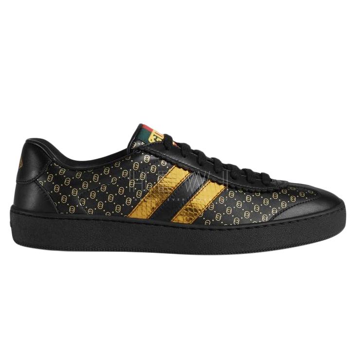 Gucci Dapper Dan Black & Gold Monogram Sneakers