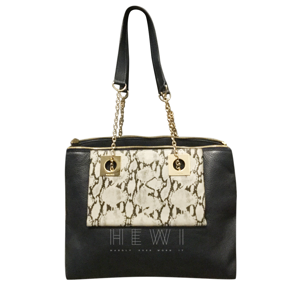 See By Chloe Leather & Python Embossed Chain Shoulder Bag