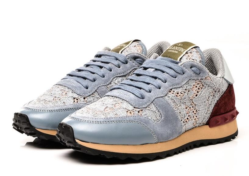 Valentino Calfskin Suede Macrame Lace Rockstud Sneakers