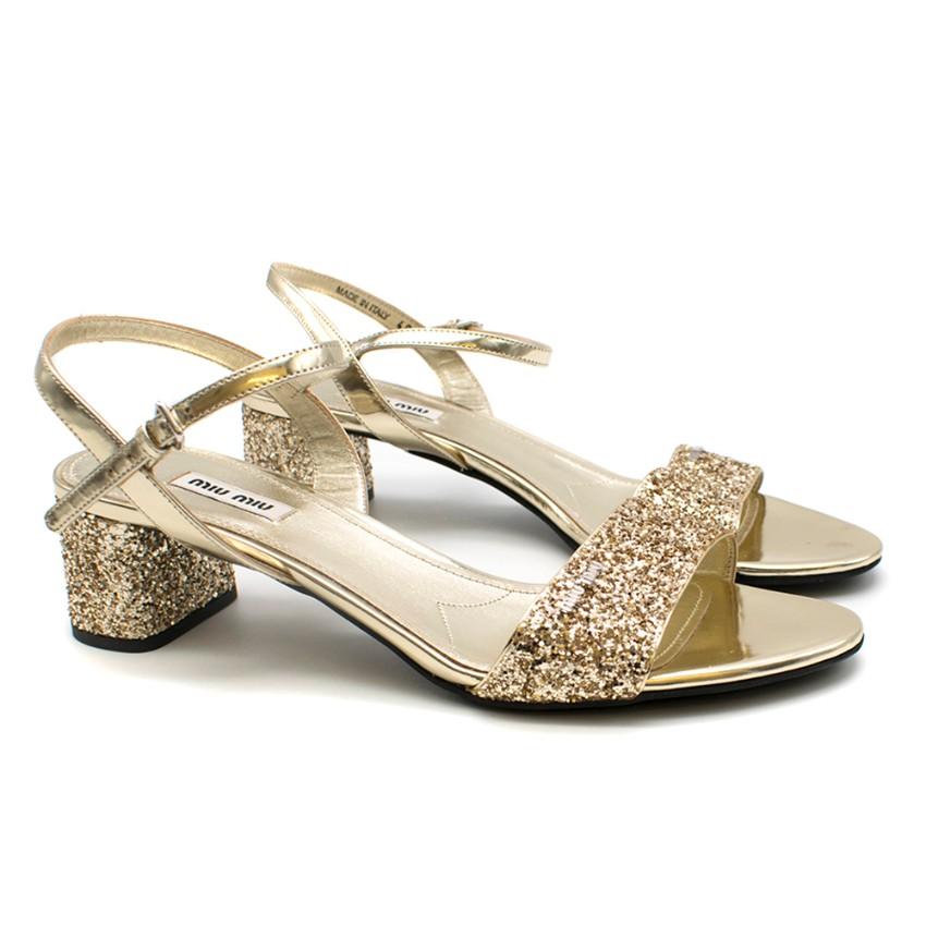 Miu Miu Gold Glitter Low Heeled Sandals