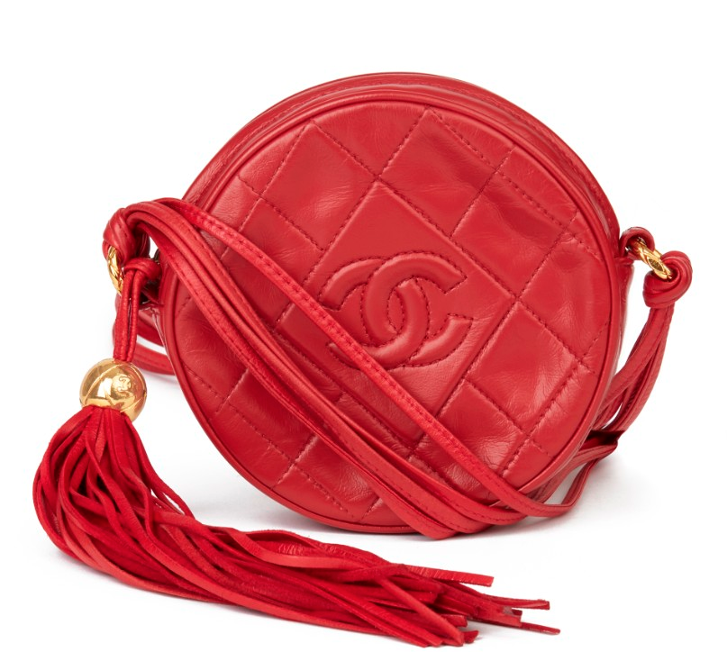 Chanel Vintage Leather Red Round Fringed Pochette