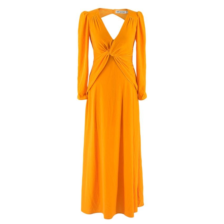 Self-Portrait Mustard Twisted Velvet Dress