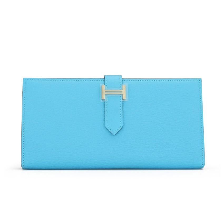 Hermes Blue Aztec Goatskin Leather Bearn Wallet