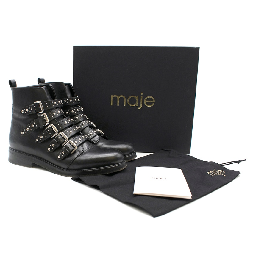 Maje Black Studded Flat Boots