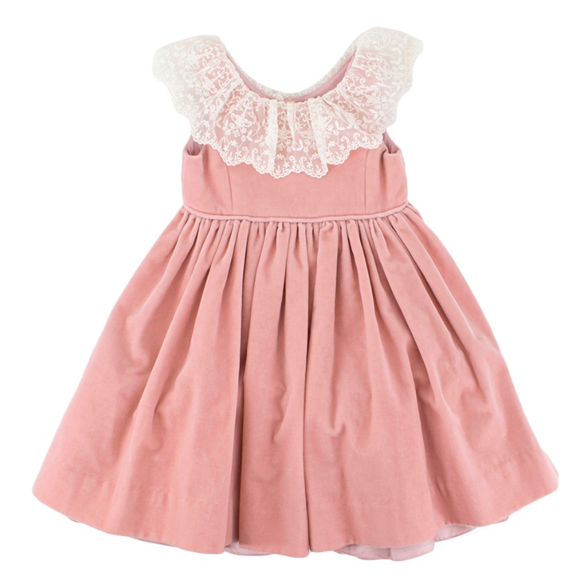 Ralph Lauren Girls Pink Tulle Velvet Dress With Lace Trim