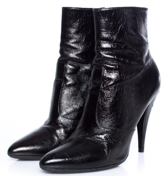 Saint Laurent Black Glossy Fetish Ankle Boots