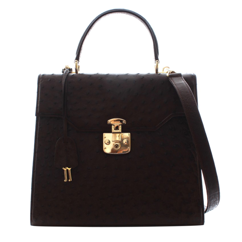Gucci Black Ostrich Leather Top Handle Tote Bag