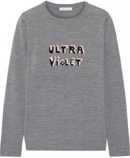 Bella Freud Grey Merino Wool Ultra Violet Intarsia Sweater